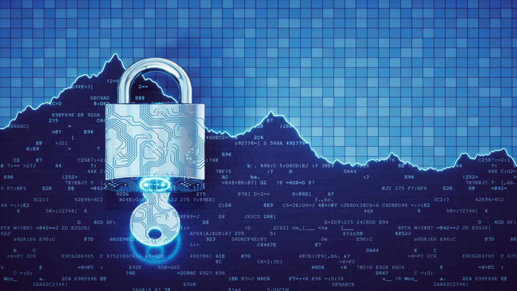 Lock and key in front of technical data graph, cybersecurity venture capital trends