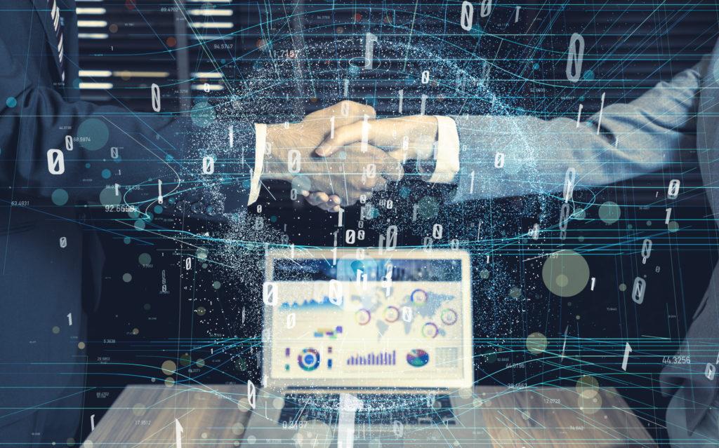 Handshake a business deal revolving around cybersecurity venture capital