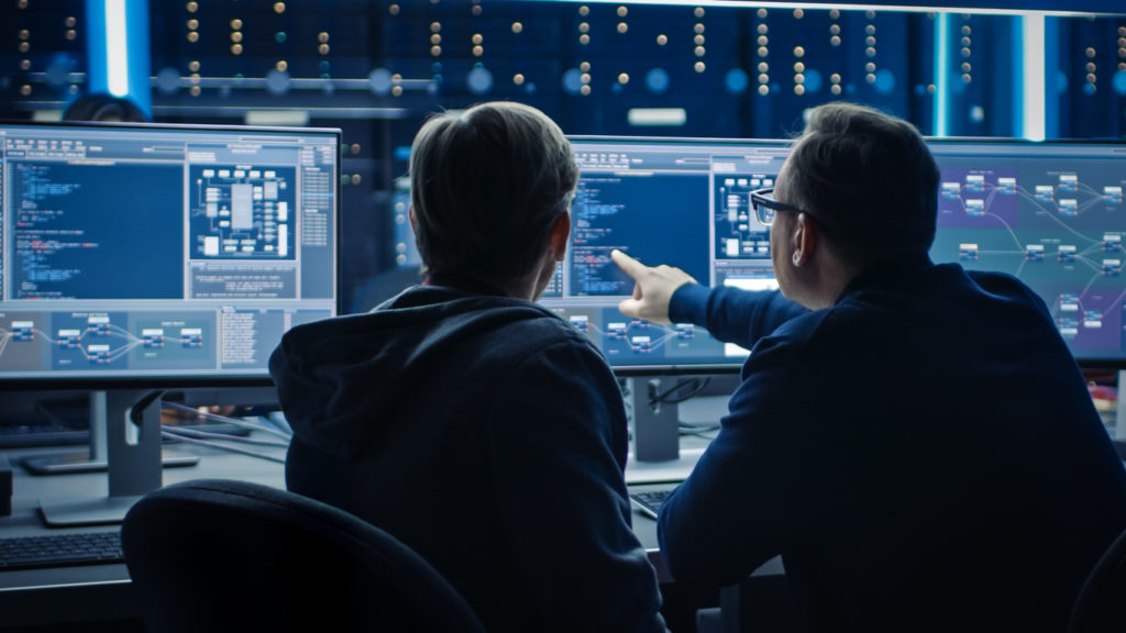IT professionals working on cyber infrastructure