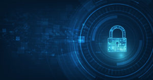 Cyber security lock and cyber infrastructure concept