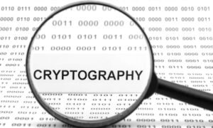 magnifying glass over the word cryptography