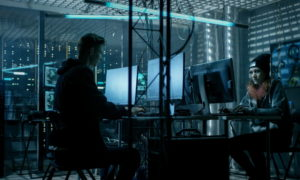 Cyber security team working