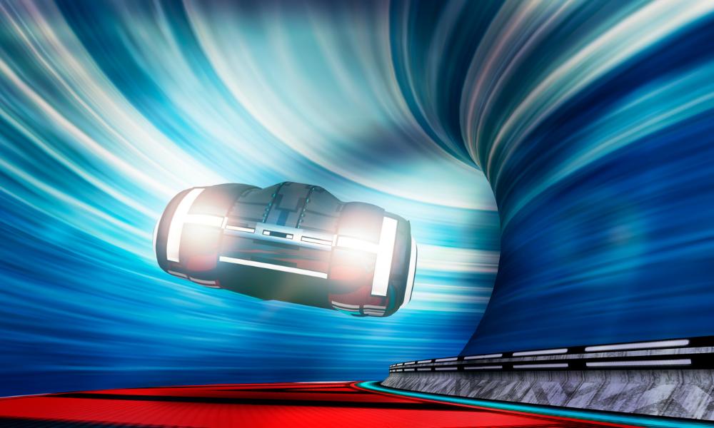 futuristic car driving