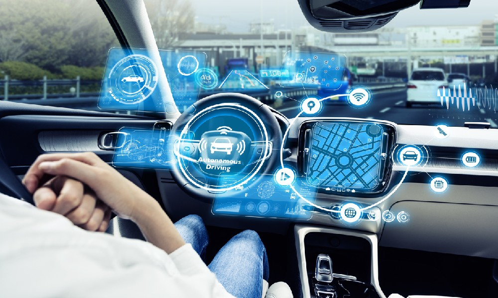 The cockpit of an autonomous car that is equipped with automotive Internet of Things (IoT) technologies